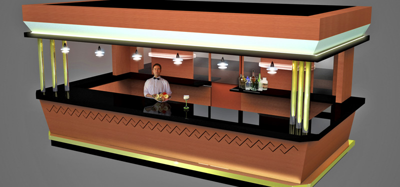 Barra snack bar casino for Diseno de barras de bar en madera